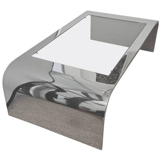 Brueton Stainless Steel / Glass Waterfall Sculptural Cocktail Table