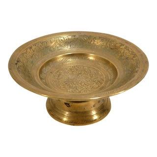 Vintage Moroccan Etched Solid Brass Pedestal Bowl