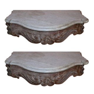 Marble Topped Wall Consoles - Pair