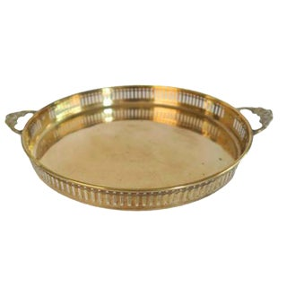 Vintage Gold Brass Double Floral Handled Round Tray