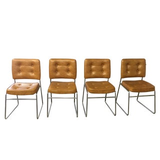 Vintage Leather and Chrome Chairs - Set of 4
