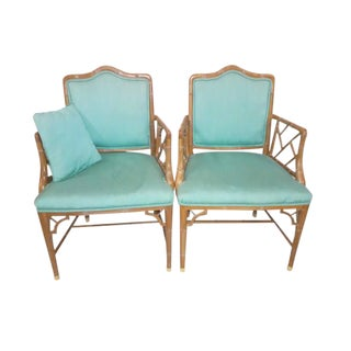 Chinese Chippendale Regency Faux Bamboo Turquoise Chairs - A Pair