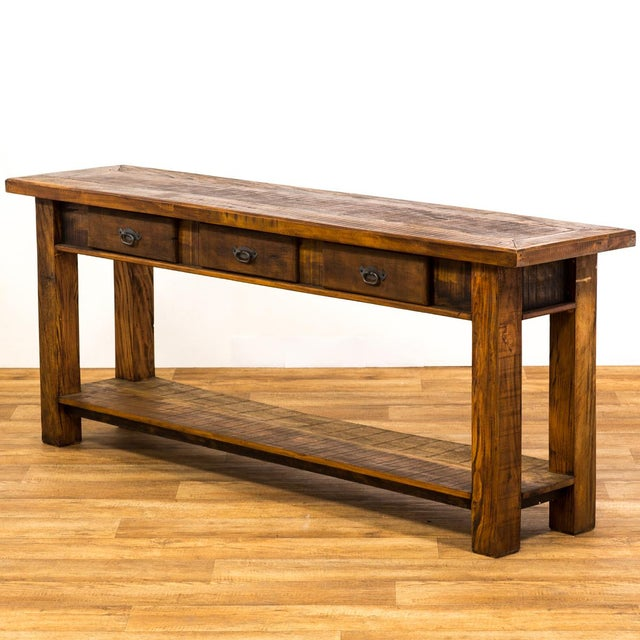 Reclaimed Wood Console Table With Drawer ~ Rustic drawer reclaimed solid wood console table chairish