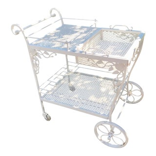 Woodard White Wrought Iron Patio Cart
