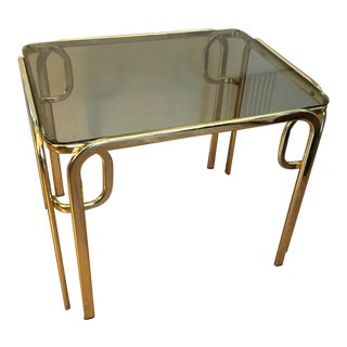 Vintage Hollywood Glam Brass & Glass Coffee / Side Table
