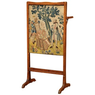 18th Century French Walnut Needlepoint Screen with Folding Tray Table