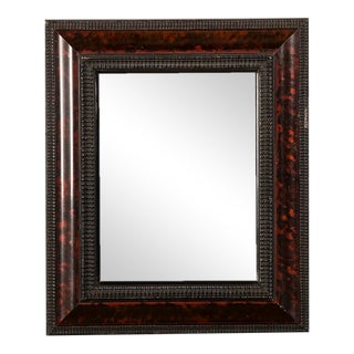Dutch Style Mirror with an Ebonized Timber of Hand Painted Tortoise Shell from Holland circa 1865