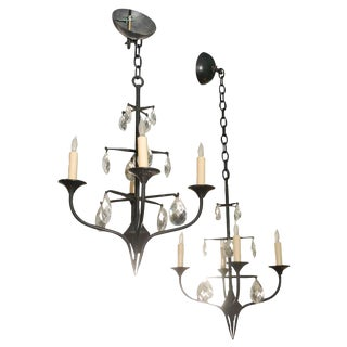 Pair of Danish Iron Chandeliers