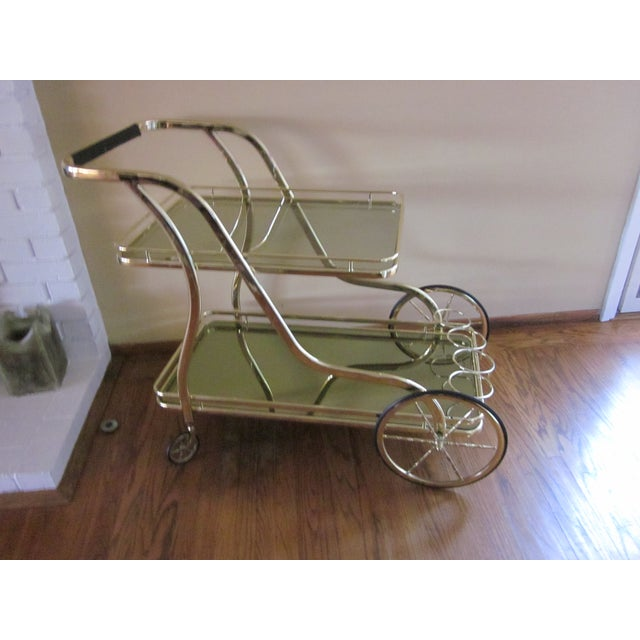 Vintage Italian Polished Brass Trolley Bar Cart - Image 2 of 5