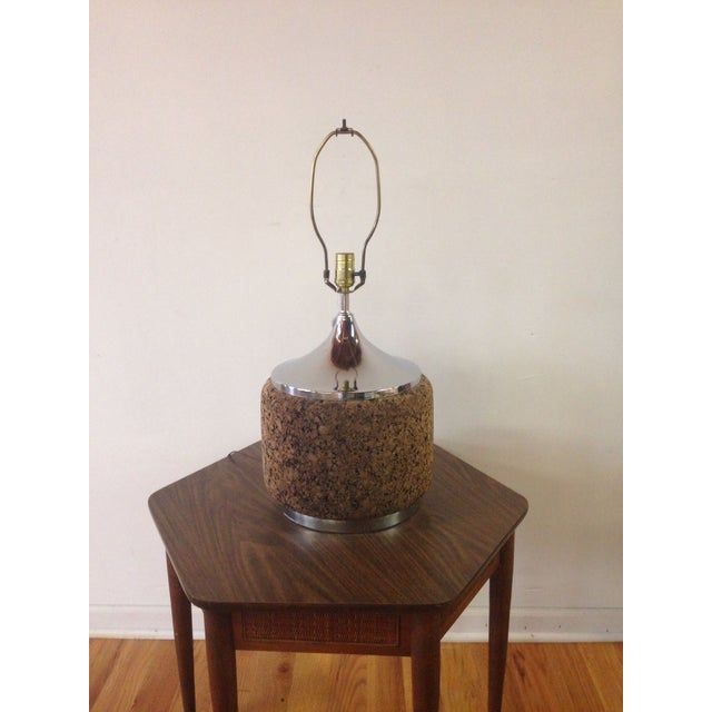 Image of 70's Cork and Chrome Lamp