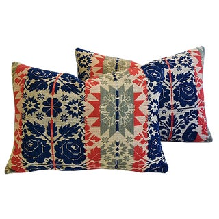 Custom Tailored 19th-C. New England Coverlet Feather/Down Pillows - Pair