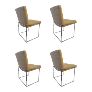 """Set of Four Chrome """"Thin Line"""" Dining Chairs by Milo Baughman for Thayer Coggin"""