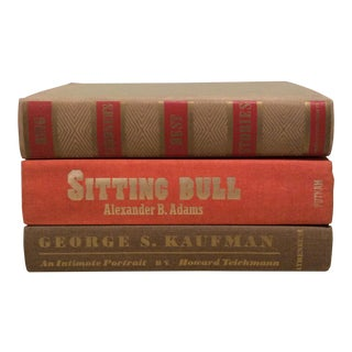Vintage Orange & Tan Book Stack - Set of 3