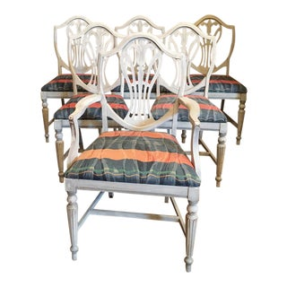 French Louis XVI Hand Painted Dining Chairs - Set of 6 Vintage Thomasville