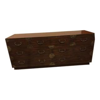 Vintage Henredon Asian Inspired Campaign Style Mahogany Dresser