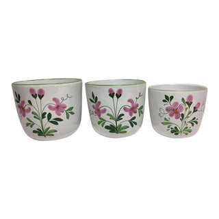 Italian Hand Painted Terrcotta Cache Pots - Set of 3