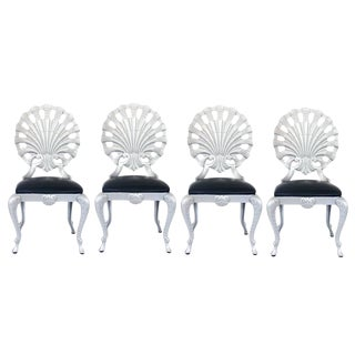 Set of Four Hollywood Regency Style Grotto Side Chairs in Silver, Attributed to Molla
