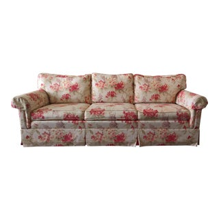 Ethan Allen Floral-Pattern Traditional Roll-Arm Cushion Couch