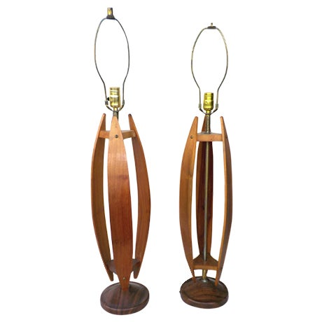 Mid-Century Wood & Brass Minimalist Lamps - a Pair - Image 1 of 6