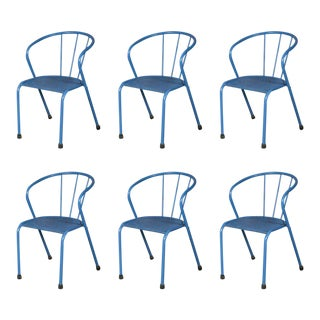 French Blue Metal Side Chairs - Set of 6