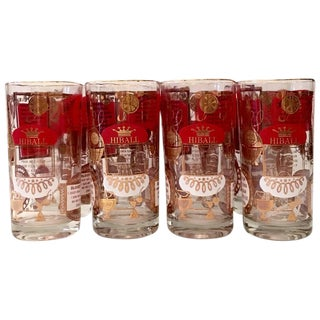 Mid-Century High Ball Drink Recipe Glasses - Set of 8