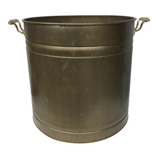 Patinated Brass Planter With Handles