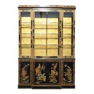 Drexel Heritage Vintage Asian Chinoiserie Black Lacquered & Gold Gilt Hutch China Cabinet
