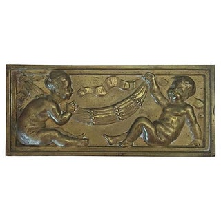 Parisian Bronze Plaque With Cherubs