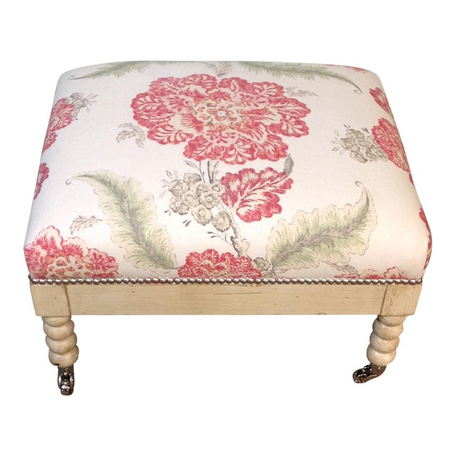 Lillian August Tufted Upholstered Floral Ottoman - Image 1 of 7