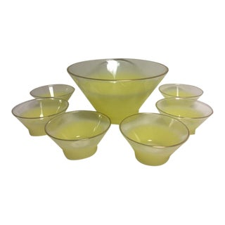 Retro Lemon Yellow Salad or Fruit Bowl With Bowls - S/7