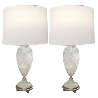 Rock Crystal Table Lamps With Round Shades From Brazil - A Pair