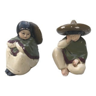 Vintage Mexican Pottery Garden Figures - a Pair