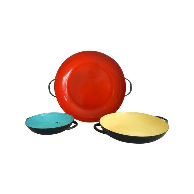 Colorful Enamel Tray Bowls - Set of 3 - Image 2 of 7