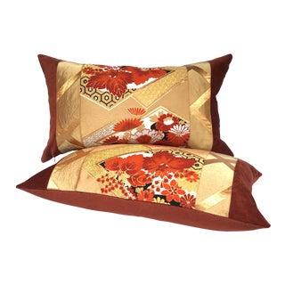 Vintage Japanese Gold & Rust Obi Pillows - A Pair