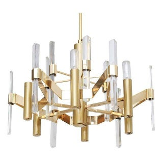 Gaetano Sciolari Gold Plated, Brass & Faceted Crystal Chandelier