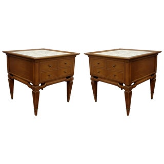 Mid-Century Modern Walnut Nightstands - Pair
