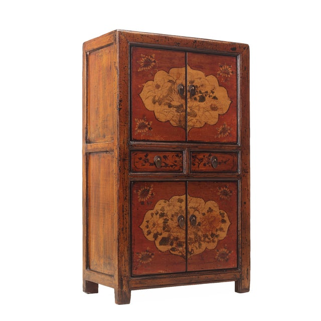 Chinese Rustic Orange Two Shelves Flower Cabinet - Image 4 of 5