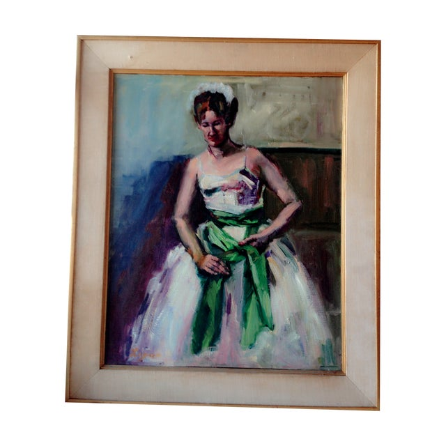 """Image of Oil on Canvas """"Green Sash"""""""