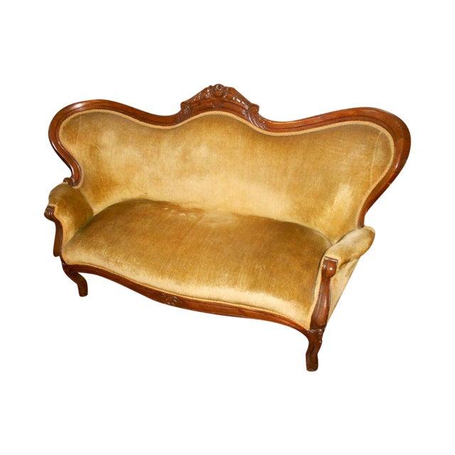 Image of Antique Victorian Velvet Loveseat