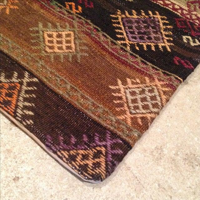 Vintage Brown Kilim Pillow - Image 3 of 5