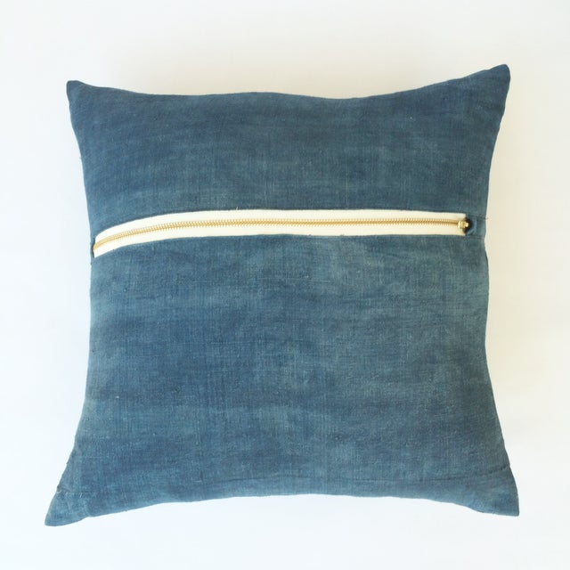 Image of Hand Woven Blue-Indigo Hemp Pillow