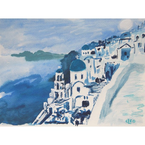 Image of Blue Abstract Portofino Greece Landscape Painting