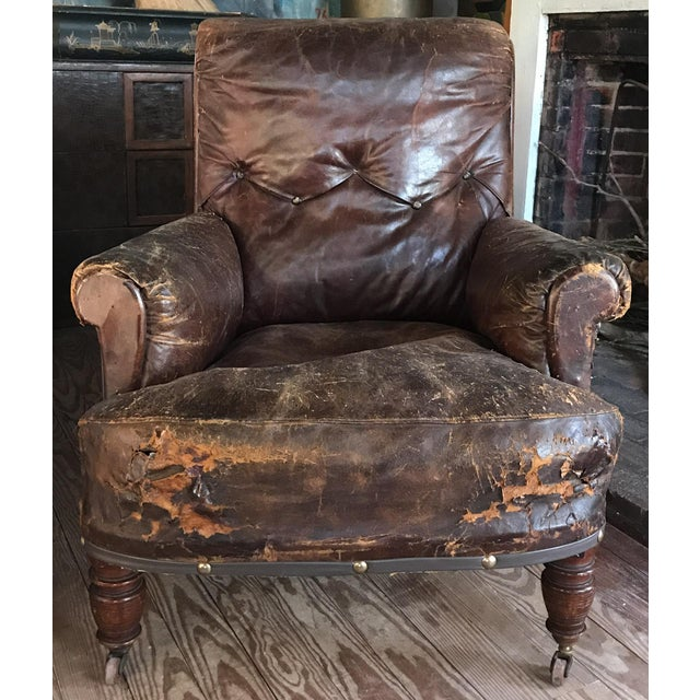 Old, Distressed Leather Club Chair - Image 2 of 10