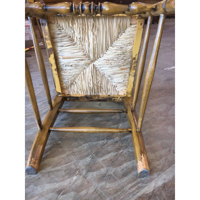 Antique Ladder Back Yellow Wood Chair - Image 8 of 10