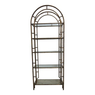 Vinntage French Regency Gold Faux Bamboo Metal Shelf