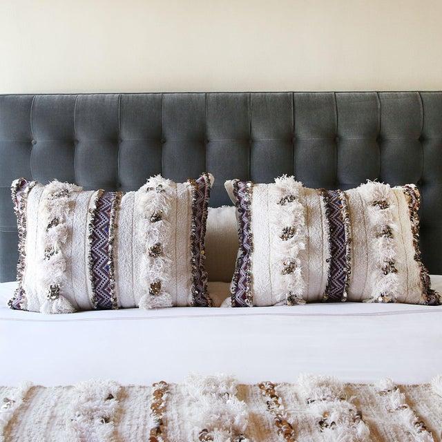 Moroccan Handira Wedding Blanket Pillow VII - Image 7 of 8