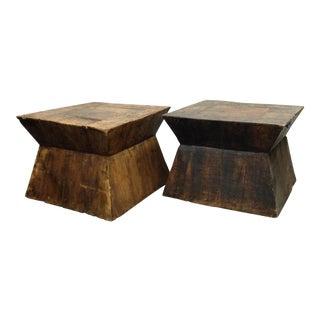 Vintage Geometric Wood End Tables - A Pair