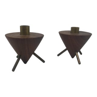 Teak Tripod Candle Holders - a Pair