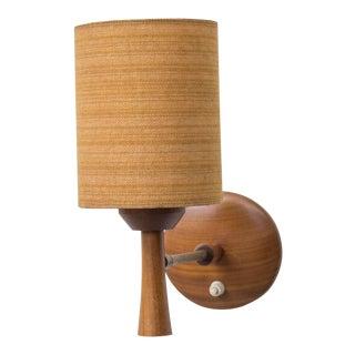 Mid-Century Teak and Brass Wall Lamp