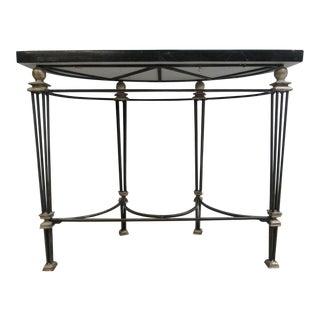 Theodore Alexander Granite Brass Demi Lune Hall Table Console